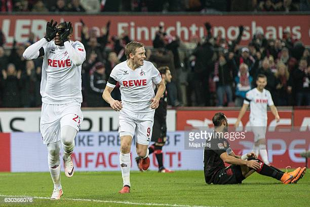 Anthony Modeste of Koeln celebrates after scoring a goal to make it 10 during the Bundesliga match between 1 FC Koeln and Bayer 04 Leverkusen at...