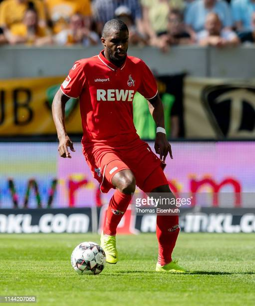 Anthony Modeste of Koeln in action during the Second Bundesliga match between SG Dynamo Dresden and 1. FC Koeln at Rudolf-Harbig-Stadion on April 21,...