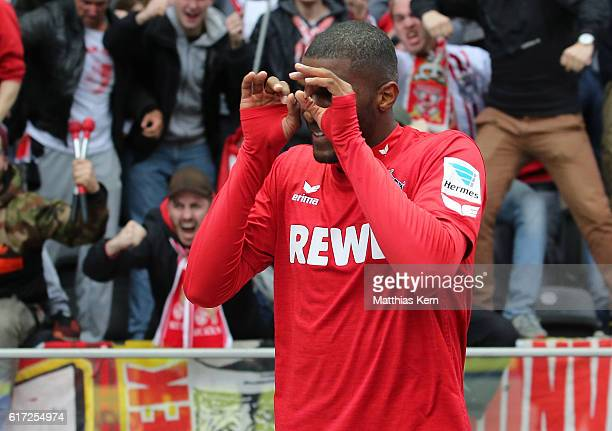Anthony Modeste of Koeln jubilates after scoring the second goal during the Bundesliga match between Hertha BSC and 1. FC Koeln at Olympiastadion on...