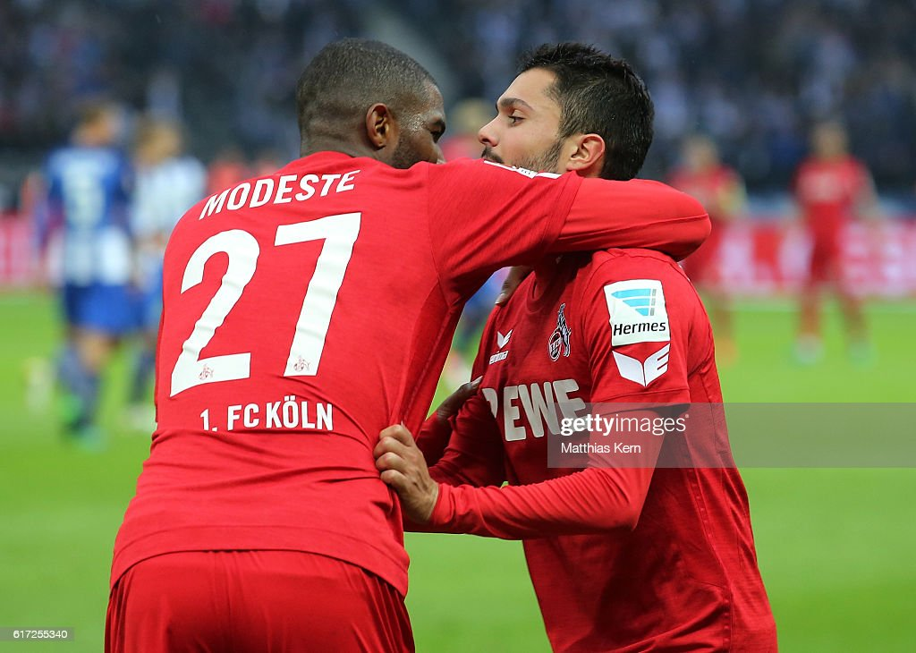 Anthony Modeste (L) of Koeln jubilates with team mate Leonardo Bittencourt after scoring the second goal during the Bundesliga match between Hertha BSC and 1. FC Koeln at Olympiastadion on October 22, 2016 in Berlin, Germany.