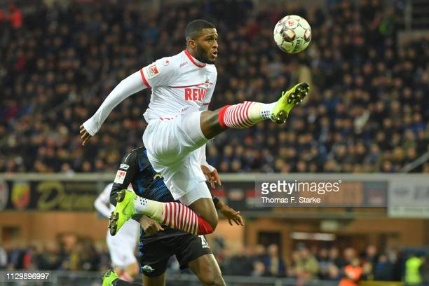 Anthony Modeste of Koeln kicks the ball during the Second Bundesliga match between SC Paderborn 07 and 1 FC Koeln at Benteler Arena on February 15...