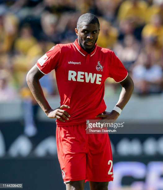 Anthony Modeste of Koeln reacts during the Second Bundesliga match between SG Dynamo Dresden and 1. FC Koeln at Rudolf-Harbig-Stadion on April 21,...