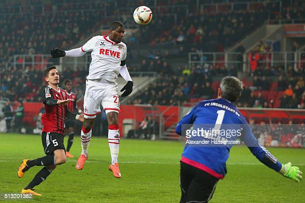Anthony Modeste of Koeln score the firts team goal against Ramazan Oezcan keeper of Ingolstadt during the Bundesliga match between FC Ingolstadt and...