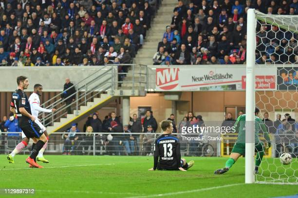 Anthony Modeste of Koeln scores his teams second goal during the Second Bundesliga match between SC Paderborn 07 and 1 FC Koeln at Benteler Arena on...