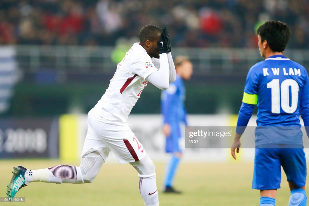 Anthony Modeste #27 of Tianjin Quanjian celebrates a goal during the 2018 AFC Champions League Group E match between Tianjin Quanjian FC and Kitchee SC at Tianjin Olympic Center Stadium on February 13, 2018 in Tianjin, China.
