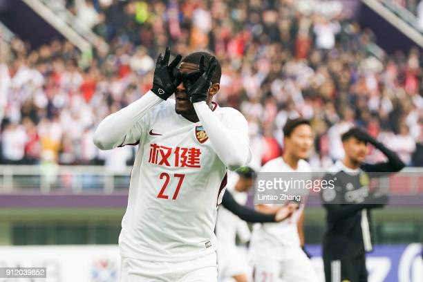 Anthony Modeste of Tianjin Quanjian celebrates after scoring his team's first goal during the 2018 AFC Champions League qualifying match between...