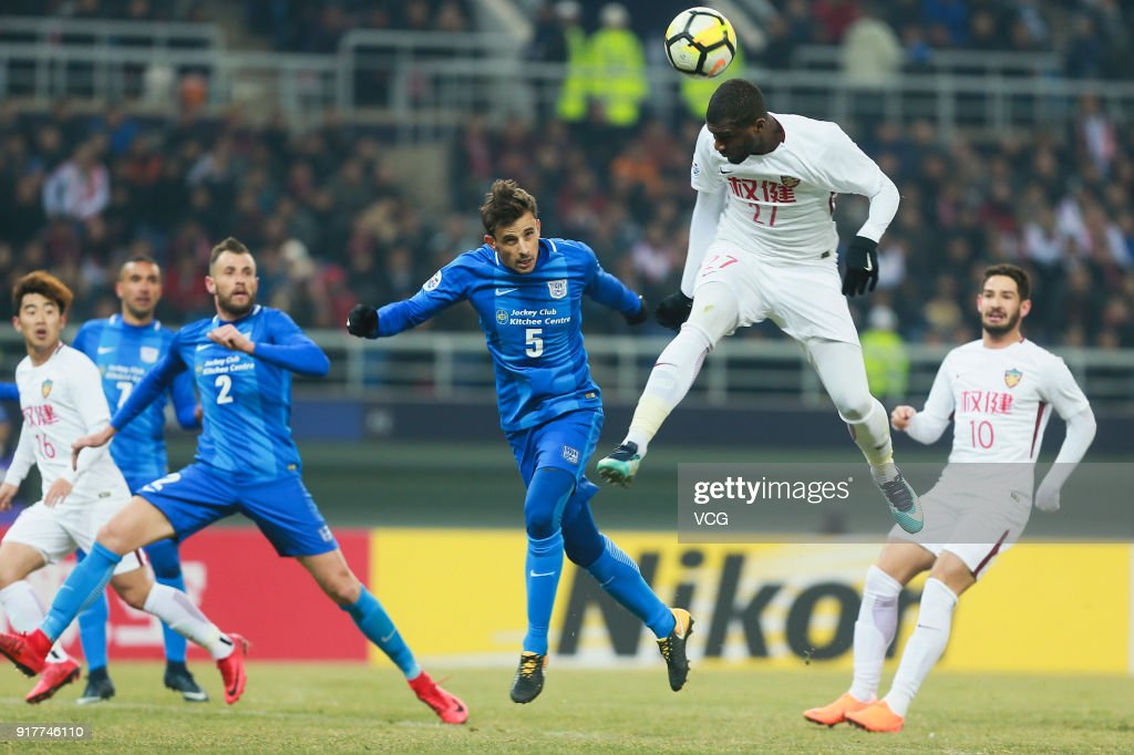 Anthony Modeste #27 of Tianjin Quanjian heads the ball during the 2018 AFC Champions League Group E match between Tianjin Quanjian FC and Kitchee SC at Tianjin Olympic Center Stadium on February 13, 2018 in Tianjin, China.