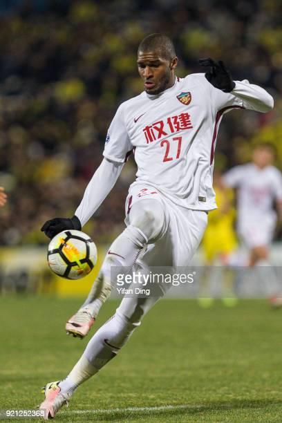 Anthony Modeste of Tianjin Quanjian in action during the AFC Champions League match between Kasshiwa Reysol and Tianjin Quanjian at Sankyo Frontier...