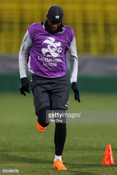 Anthony Modeste of Tianjin Quanjian in action during the official training session before the 2018 AFC Champions League match between Kasshiwa Reysol...
