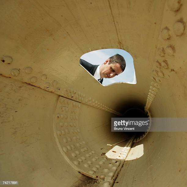 Anthony Moorse of the Chatham Historic Dockyard looks inside one of the Cutty Sark's masts on May 22 2007 in London The Cutty Sark the last remaining...