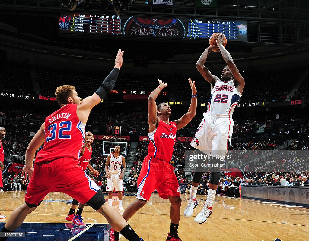 Anthony Morrow #22 of the Atlanta Hawks takes a jumpshot vs the the Los Angeles Clippers at Philips Arena on November 24, 2012 in Atlanta, Georgia.