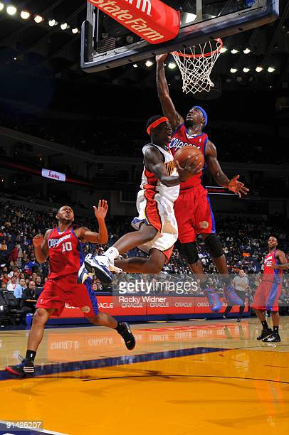 Anthony Morrow of the Golden State Warriors converts on the up and under against the Los Angeles Clippers during a preseason game on October 4 2009...