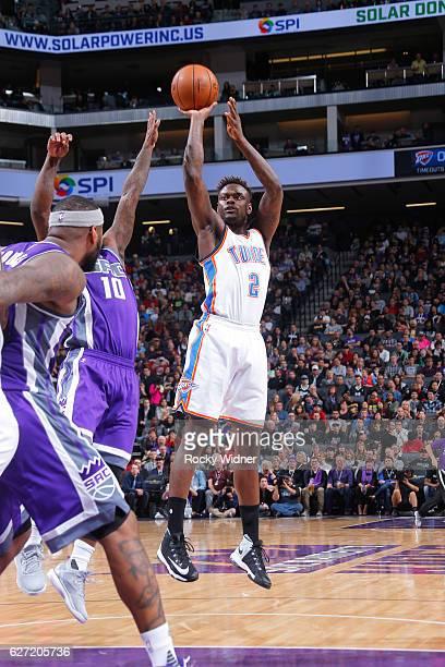 Anthony Morrow of the Oklahoma City Thunder shoots against Ty Lawson of the Sacramento Kings on November 23, 2016 at Golden 1 Center in Sacramento,...