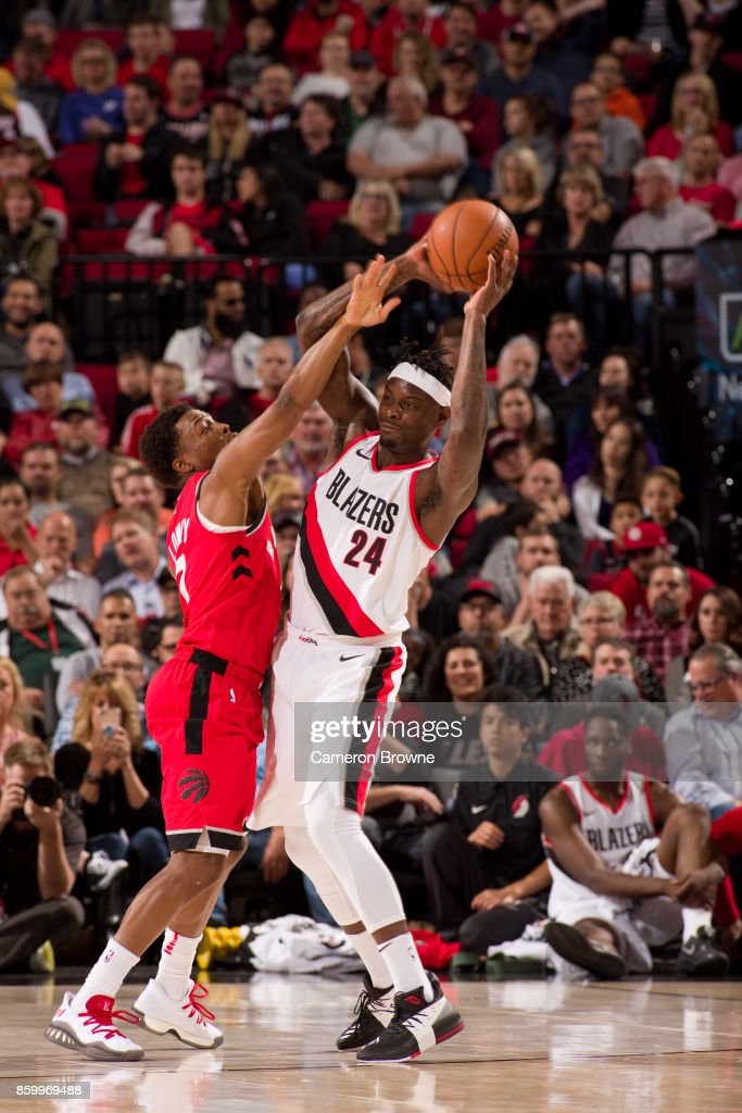 Anthony Morrow #24 of the Portland Trail Blazers handles the ball during the preseason game against the Toronto Raptors on October 5, 2017 at the Moda Center Arena in Portland, Oregon.