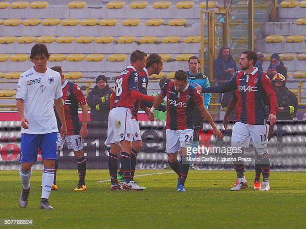 Anthony Mounier of Bologna FC celebrates after scoring the opening goal during the Serie A match between Bologna FC and UC Sampdoria at Stadio Renato...