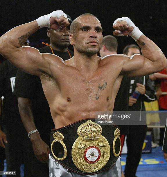 Anthony Mundine celebrates after winning the WBA Super Middle Weight Boxing Title Defence between the current champion Anthony Mundine of Australia...