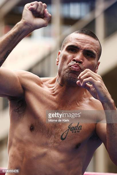 Anthony Mundine completes a Public Workout ahead of the Anthony Mundine and Danny Green fight night on January 30 2017 in Adelaide Australia