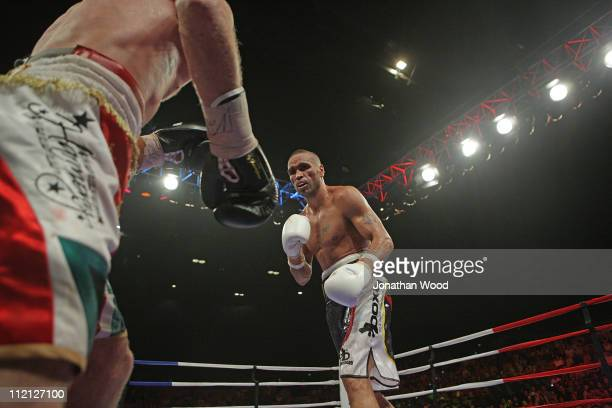 Anthony Mundine of Australia in action during the eighth round against Garth Wood of Australia during their rematch middleweight bout at Brisbane...
