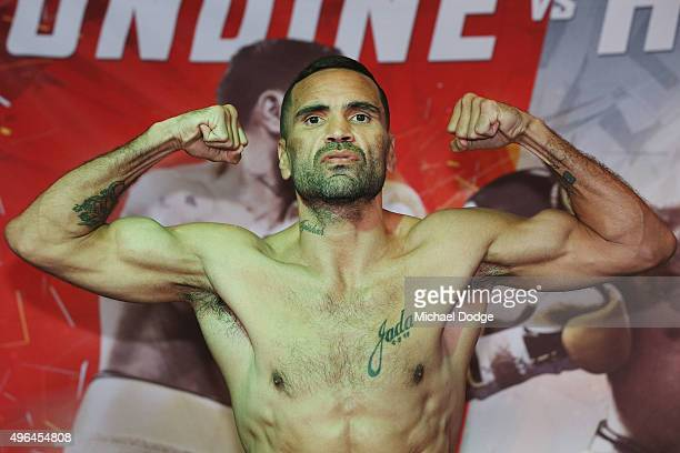 Anthony Mundine of Australia poses during the weigh in ahead of tomorrow night's fight against Charles Hatley of the USA on November 10 2015 in...