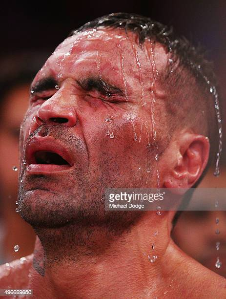 Anthony Mundine of Australia reacts after losing his bout to Charles Hatley of the USA at The Melbourne Convention and Exhibition Centre on November...