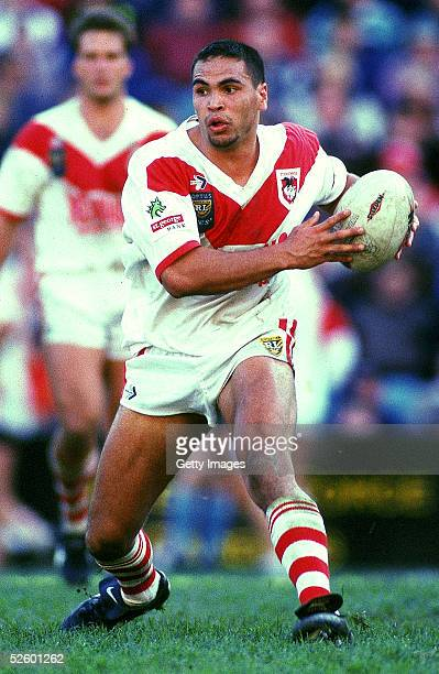 Anthony Mundine of the Dragons in action during the rugby league prelimanary final match between the North Sydney Bears and the St George Dragons...