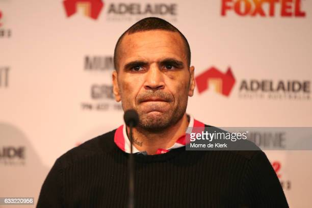 Anthony Mundine speaks to media during the official press conference on February 1 2017 in Adelaide Australia