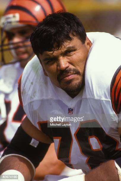 Anthony Munoz of the Cincinnati Bengals during a NFL football game against the Green Bay Packers on September 20 1992 at Lambeau Field in Green Bay...