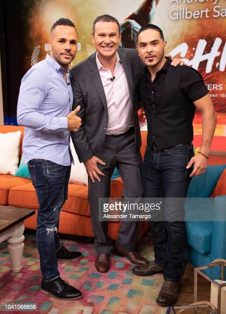 Anthony Nardolillo Alan Tacher and Gilbert Saldivar are seen on the set of 'Despierta America' at Univision Studios to promote the film 'SHINE' on...
