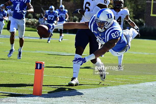 Anthony Nash of the Duke Blue Devils dives for the end zone at the end of a 52yard pass reception against the Pittsburgh Panthers at Wallace Wade...