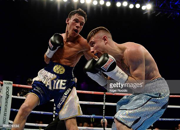 Anthony Nelson in action with Jamie Wilson during their Commonwealth Super Flyweight Championship boxing contest at the Metro Arena on April 4 2015...