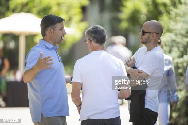 Anthony Noto chief executive officer of Social Finance Inc from left speaks with Barry McCarthy chief financial officer of Spotify Technology SA and...