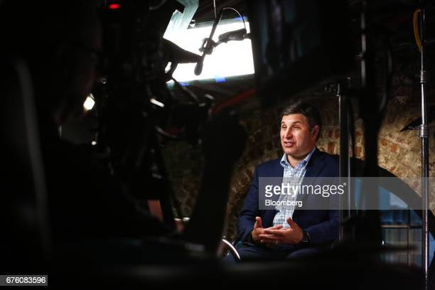 Anthony Noto chief financial officer and chief operating officer of Twitter Inc speaks during a Bloomberg Television interview in New York US on...
