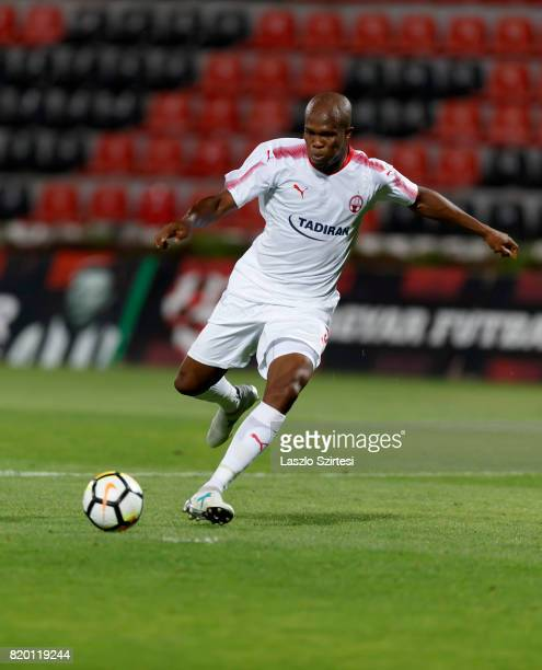 Anthony Nwakaeme of Hapoel BeerSheva shoots on goal during the UEFA Champions League Second Qualifying Round match between Budapest Honved and Hapoel...