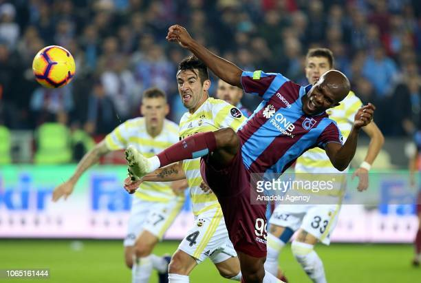 Anthony Nwakaeme of Trabzonspor in action against Isla of Fenerbahce during Turkish Super Lig soccer match between Trabzonspor and Fenerbahce at...