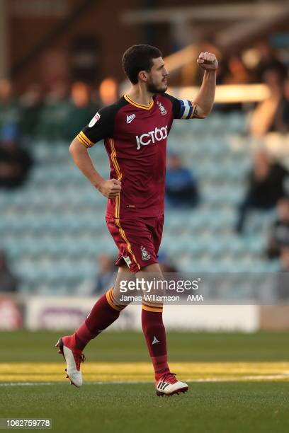 Anthony OConnor of Bradford City celebrates after scoring a goal to make it 10 during the Sky Bet League One match between Peterborough United and...