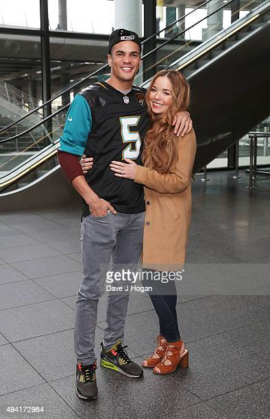 Anthony Ogogo and Casey Wicks attend the annual NFL International Series as the Jacksonville Jaguars compete against the Buffalo Bills at Wembley...