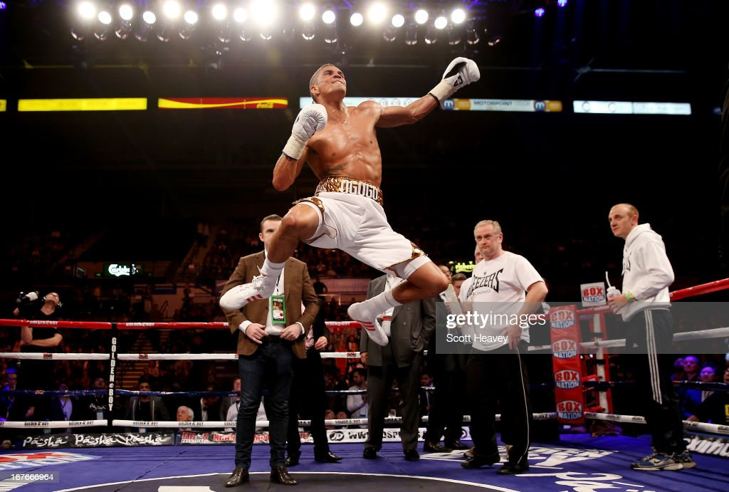 Anthony Ogogo celebrates his victory over Kieron Gray during their Middleweight bout at Motorpoint Arena on April 27, 2013 in Sheffield, England.