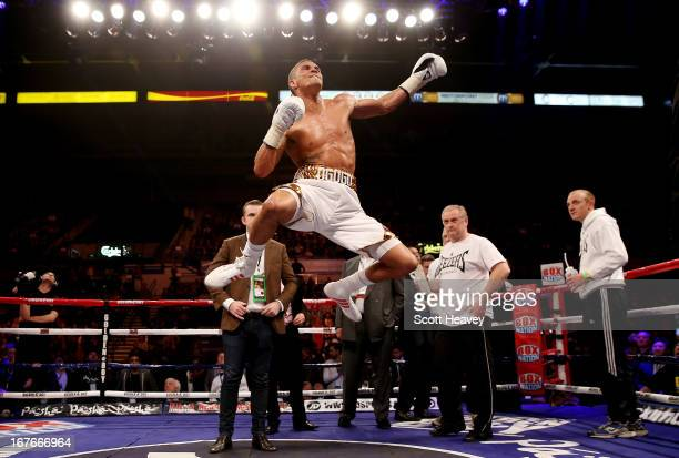Anthony Ogogo celebrates his victory over Kieron Gray during their Middleweight bout at Motorpoint Arena on April 27 2013 in Sheffield England