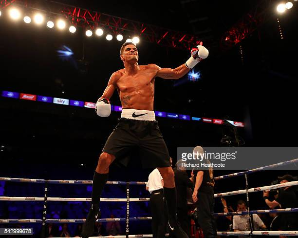 Anthony Ogogo celebrates victory over Frane Radnic of Croatia in a Middleweight contest at The O2 Arena on June 25 2016 in London England