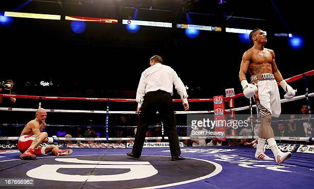 Anthony Ogogo knocks down Kieron Gray during their Middleweight bout at Motorpoint Arena on April 27 2013 in Sheffield England