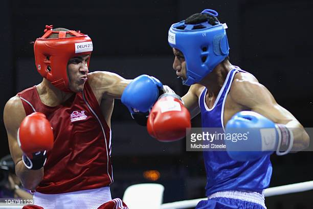 Anthony Ogogo of England during his victory against Andrew Kometa of Kiribati in the Middle 75kg category at the Talkatora Indoor Stadium during day...