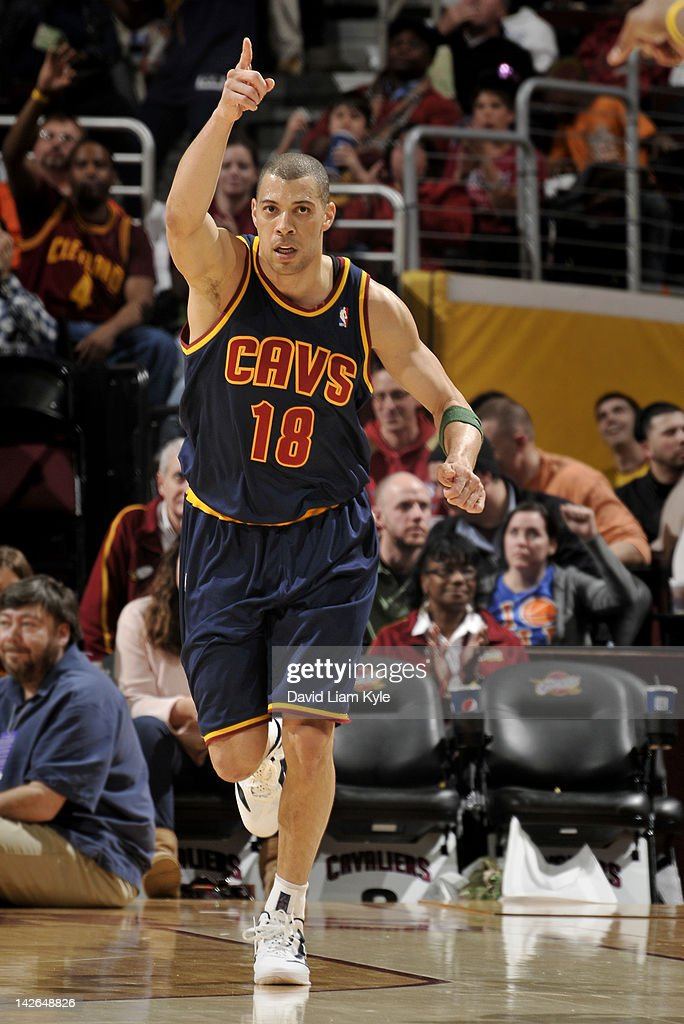 Anthony Parker #18 of the Cleveland Cavaliers responds after hitting a three pointer against the Charlotte Bobcats at The Quicken Loans Arena on April 10, 2012 in Cleveland, Ohio.