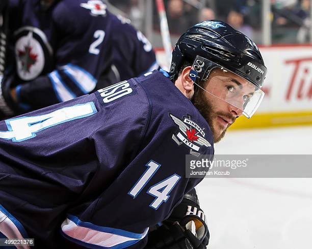 Anthony Peluso of the Winnipeg Jets looks on from the bench during thirdperiod action against the Arizona Coyotes at the MTS Centre on November 21...