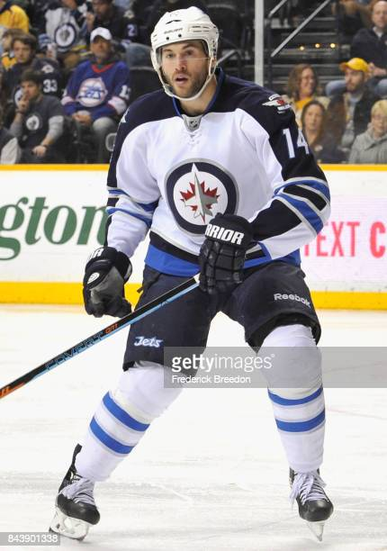 Anthony Peluso of the Winnipeg Jets plays in the game against the Nashville Predators at Bridgestone Arena on March 7 2015 in Nashville Tennessee