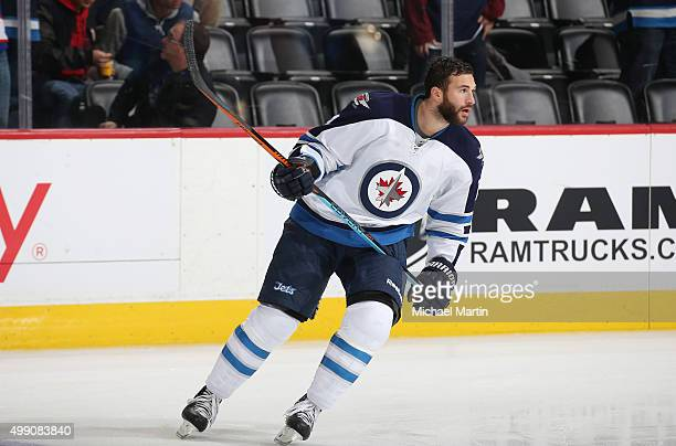Anthony Peluso of the Winnipeg Jets skates during warm ups prior to the game against the Colorado Avalanche at the Pepsi Center on November 28 2015...