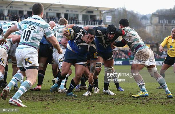 Anthony Perenise of Bath charges forward to score the bonus point try during the Aviva Premiership match between Bath and London Irish at the...