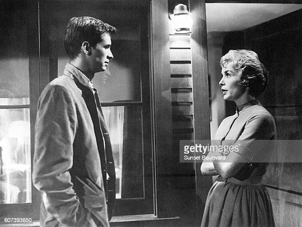 Anthony Perkins and Janet Leigh on the set of 'Psycho' directed by Alfred Hitchcock
