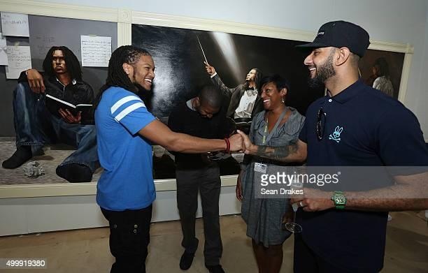 Anthony Perkins Shawn Warren and Frances Guichard meet musician Swizz Beatz in the Bombay Sapphire Artisan Series Lounge at Scope art fair during Art...