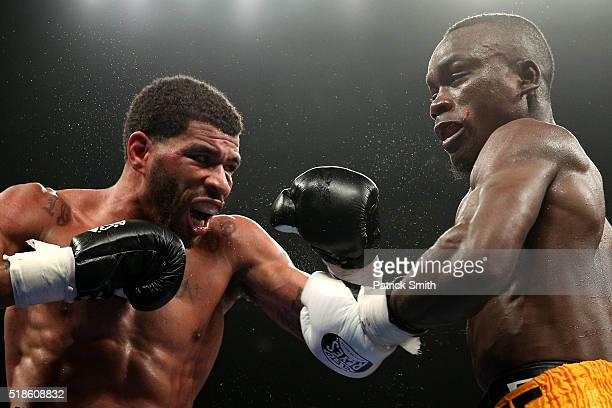 Anthony Peterson exchanges punches with Samuel Neequaye in their lightweights bout at the DC Armory on April 1, 2016 in Washington, DC.
