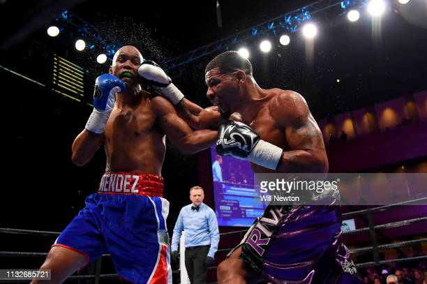 Anthony Peterson punches Argenis Mendez during their super lightweight fight at The Theater at MGM National Harbor on March 24 2019 in Oxon Hill...